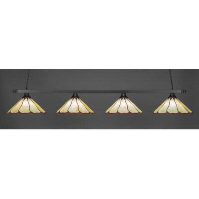 4-Light Kitchen Island Pendant Shade Color: Honey Burgundy