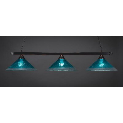 3-Light Billiard Pendant Base Finish: Black Copper, Shade Color: Teal