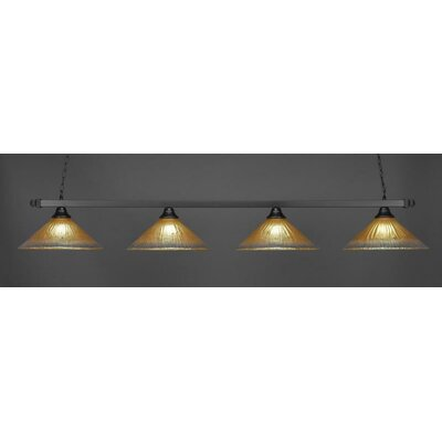 4-Light Billiard Pendant Shade Color: Amber
