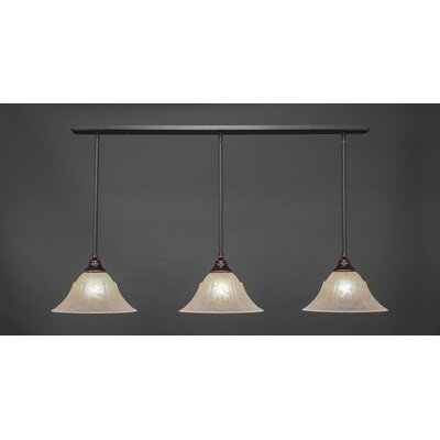 3-Light Kitchen Island Pendant Base Finish: Dark Granite, Shade Color: Amber