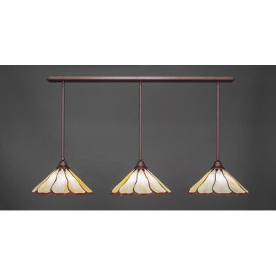 3-Light Kitchen Island Pendant Base Finish: Bronze, Shade Color: Honey Burgundy
