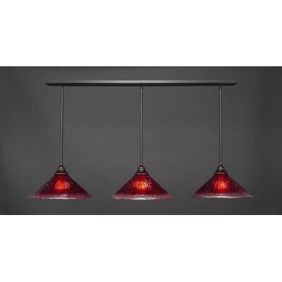 3-Light Kitchen Island Pendant Shade Color: Raspberry, Base Finish: Dark Granite