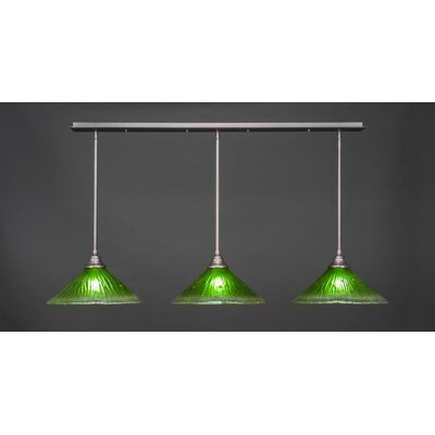 3-Light Kitchen Island Pendant Base Finish: Brushed Nickel, Shade Color: Kiwi Green