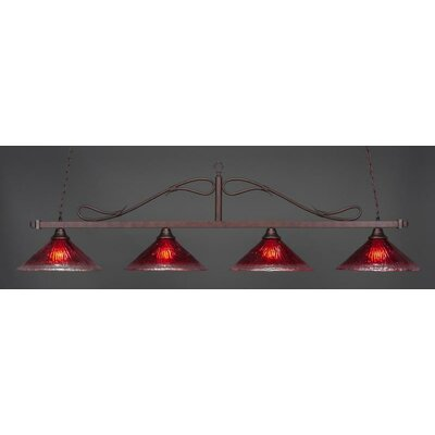 Reba Traditional 4-Light Kitchen Island Pendant Shade Color: Raspberry