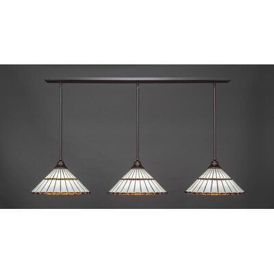 3-Light Kitchen Island Pendant Base Finish: Dark Granite, Shade Color: Amber Brown
