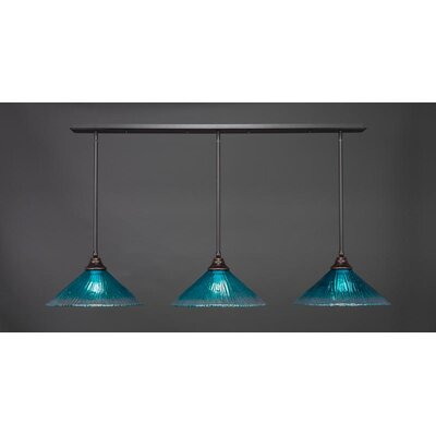 3-Light Kitchen Island Pendant Base Finish: Dark Granite, Shade Color: Teal