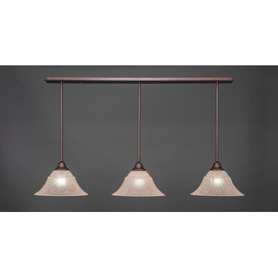 3-Light Kitchen Island Pendant Base Finish: Bronze, Shade Color: Italian