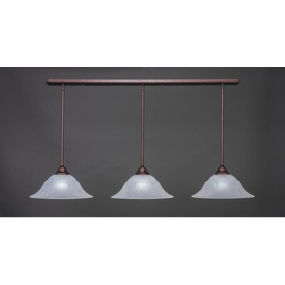 3-Light Kitchen Island Pendant Shade Color: White, Base Finish: Bronze