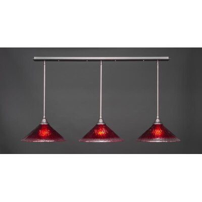 3-Light Kitchen Island Pendant Base Finish: Brushed Nickel, Shade Color: Raspberry