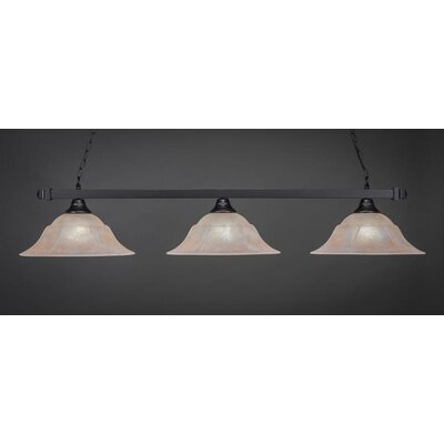 3-Light Billiard Pendant Base Finish: Matte Black, Shade Color: Amber