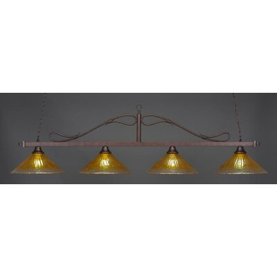 Scroll 4-Light Kitchen Island Pendant Shade Color: Gold Champagne