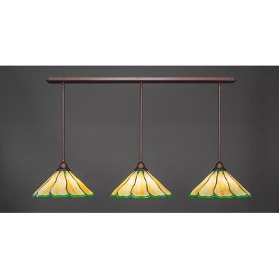 3-Light Kitchen Island Pendant Base Finish: Bronze, Shade Color: Honey Green