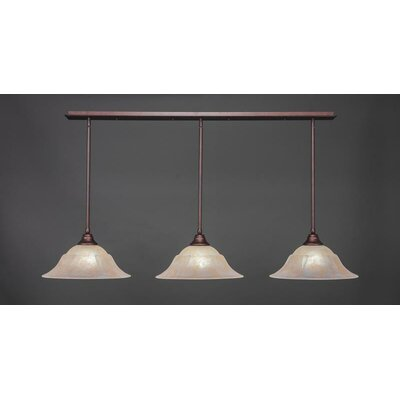 3-Light Kitchen Island Pendant Base Finish: Bronze, Shade Color: Amber