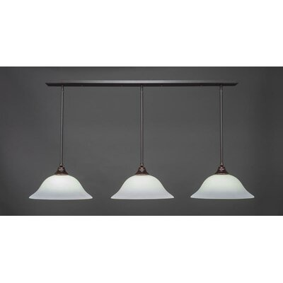 3-Light Kitchen Island Pendant Base Finish: Dark Granite, Shade Color: Gary