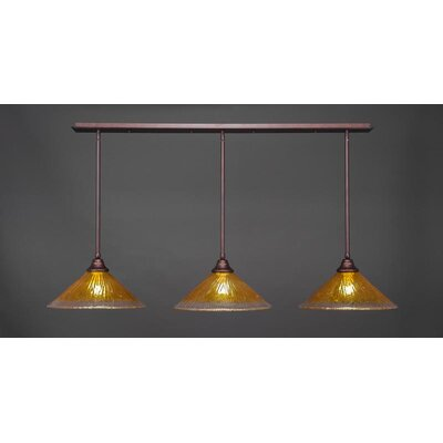 3-Light Kitchen Island Pendant Base Finish: Bronze, Shade Color: Gold Champagne