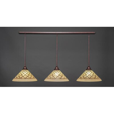 3-Light Kitchen Island Pendant Base Finish: Bronze