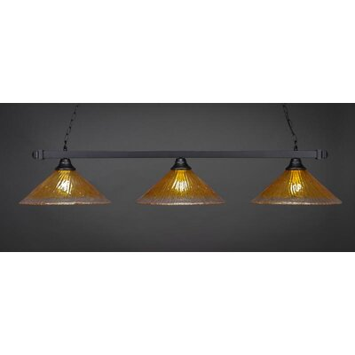 3-Light Billiard Pendant Shade Color: Gold Champagne, Base Finish: Matte Black