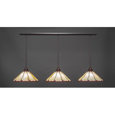 3-Light Kitchen Island Pendant Base Finish: Dark Granite, Shade Color: Honey Burgundy
