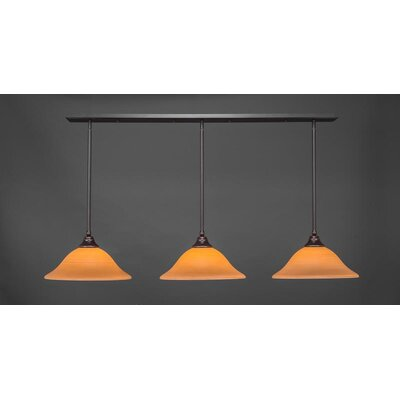 3-Light Kitchen Island Pendant Base Finish: Dark Granite, Shade Color: Cayenne