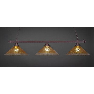 3-Light Billiard Pendant Shade Color: Gold Champagne, Base Finish: Bronze