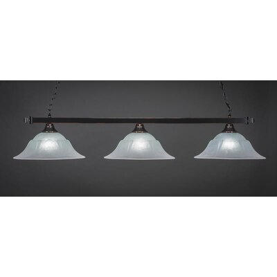 3-Light Billiard Pendant Base Finish: Black Copper, Shade Color: White