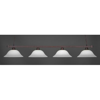 4-Light Billiard Pendant Base Finish: Bronze, Shade Color: White
