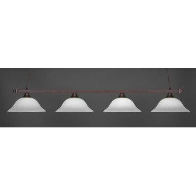 4-Light Billiard Pendant Base Finish: Bronze, Shade Color: White