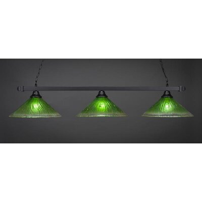 3-Light Billiard Pendant Shade Color: Kiwi Green, Base Finish: Matte Black