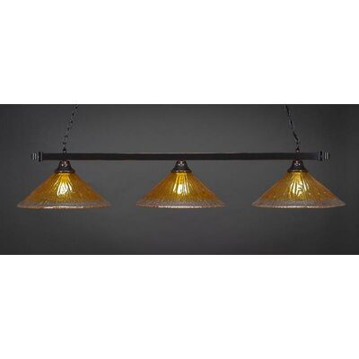 3-Light Billiard Pendant Base Finish: Black Copper, Shade Color: Gold Champagne
