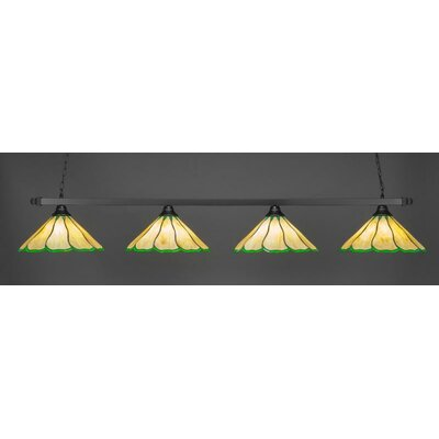 4-Light Kitchen Island Pendant Shade Color: Honey Hunter