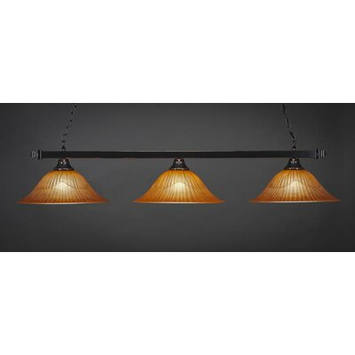 3-Light Billiard Pendant Base Finish: Black Copper