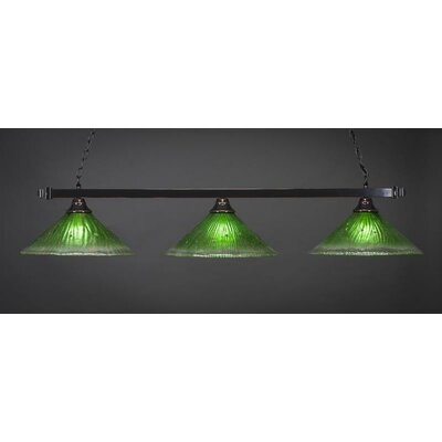 3-Light Billiard Pendant Base Finish: Black Copper, Shade Color: Kiwi Green