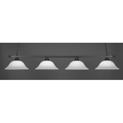 4-Light Billiard Pendant Shade Color: White, Base Finish: Matte Black