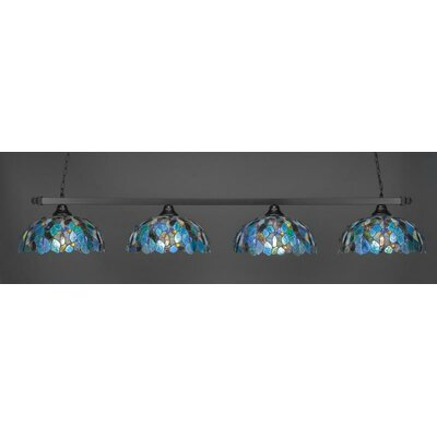 4-Light Billiard Pendant Shade Color: Blue Mosaic