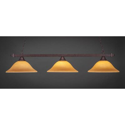 3-Light Kitchen Island Pendant Shade Color: Cayenne, Base Finish: Bronze