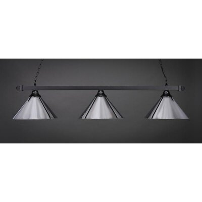 3-Light Billiard Pendant Base Finish: Chrome