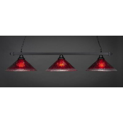 3-Light Kitchen Island Pendant Shade Color: Raspberry