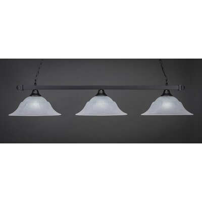 3-Light Billiard Pendant Shade Color: White, Base Finish: Matte Black