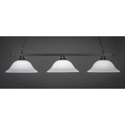 3-Light Kitchen Island Pendant Shade Color: White, Base Finish: Matte Black