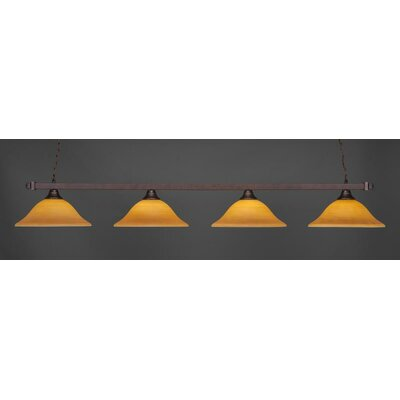 4-Light Billiard Pendant Base Finish: Bronze, Shade Color: Cayenne