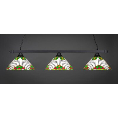 3-Light Billiard Pendant Shade Color: Green, Base Finish: Matte Black