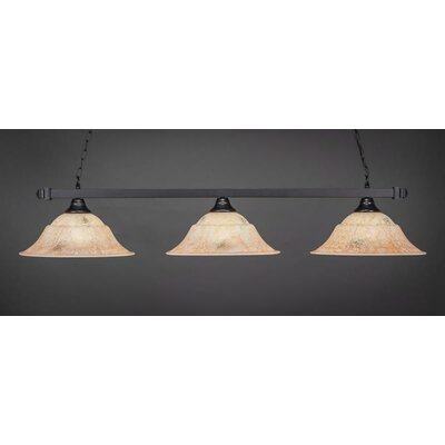 3-Light Billiard Pendant Shade Color: Italian, Base Finish: Matte Black