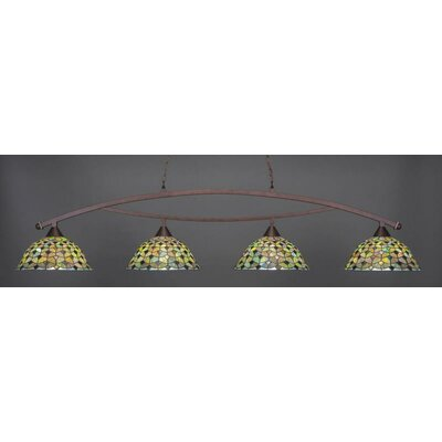 Bow 4-Light Billiard Pendant Base Finish: Bronze