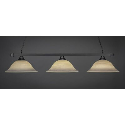 3-Light Kitchen Island Pendant Shade Color: Gray, Base Finish: Matte Black
