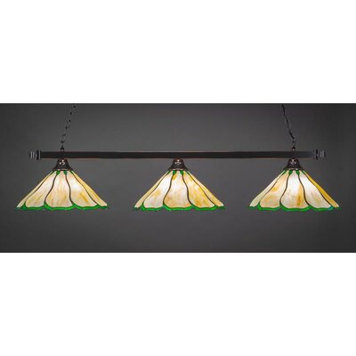 3-Light Kitchen Island Pendant Shade Color: Honey Green, Base Finish: Matte Black