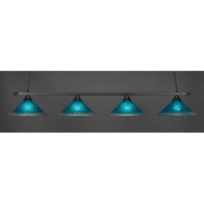 4-Light Billiard Pendant Shade Color: Teal