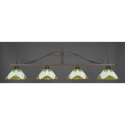 Scroll 4-Light Billiard Pendant Shade Color: Green