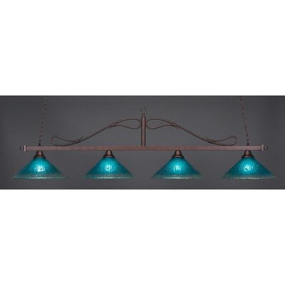 Reba Traditional 4-Light Kitchen Island Pendant Shade Color: Teal