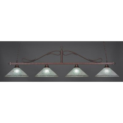 Reba Traditional 4-Light Kitchen Island Pendant Shade Color: Frosted