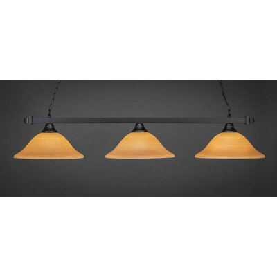 3-Light Kitchen Island Pendant Base Finish: Matte Black, Shade Color: Cayenne